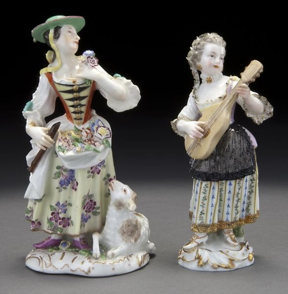 2: Pr. Meissen porcelain figures of ladies,