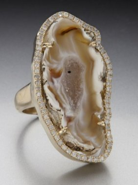 Diamond And Agate Dinner Ring