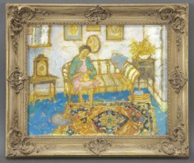 """4: Jean Young, """"Interior Scene with Woman Knitting"""""""