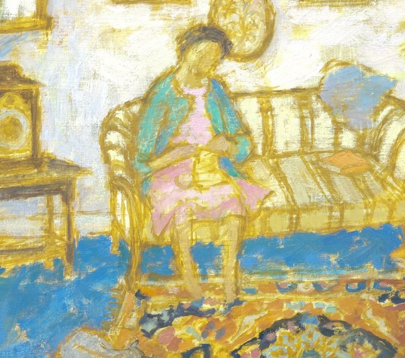 "4: Jean Young, ""Interior Scene with Woman Knitting"" - 4"