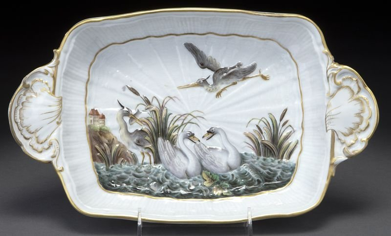 "5: Meissen porcelain ""Swan Service"" two-handled tray"
