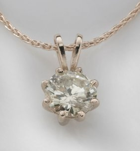 6: 14K gold and diamond pendant with chain