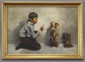 "8: John Henry Henrici, ""Shoeshine Boy with Dog"" oil"