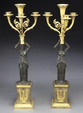 Pr. Empire Style Parcel Gilt Bronze Candelabra,