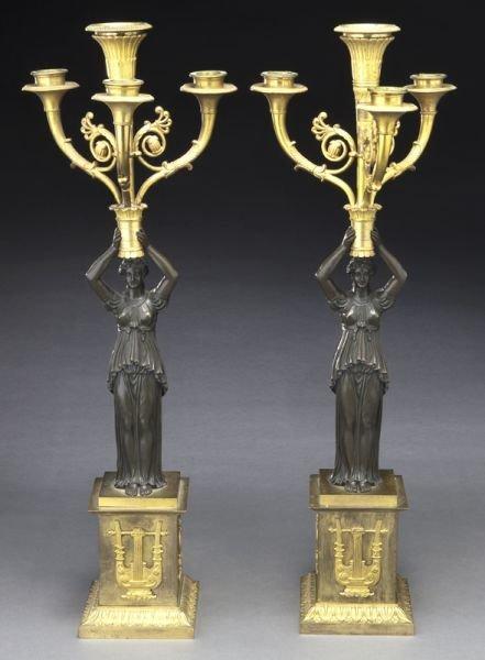 9: Pr. Empire style parcel gilt bronze candelabra,