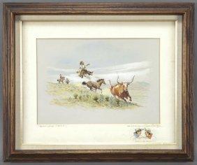 "17: Byron B. Wolfe, ""Broken Latigo"" watercolor on"