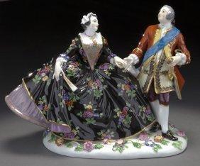 20: Meissen porcelain figural group of a royal couple,