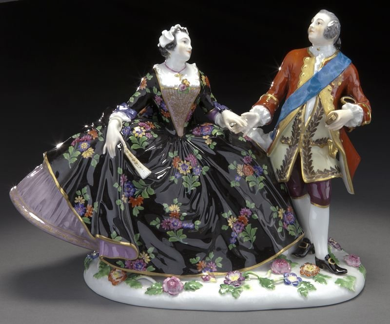 20: Meissen porcelain figural group of a royal couple,