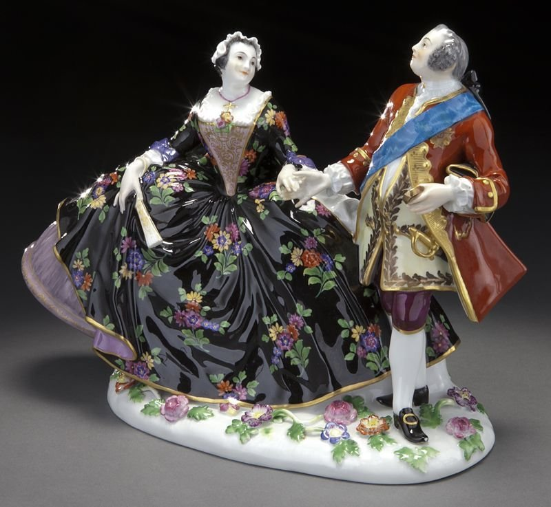 20: Meissen porcelain figural group of a royal couple, - 2