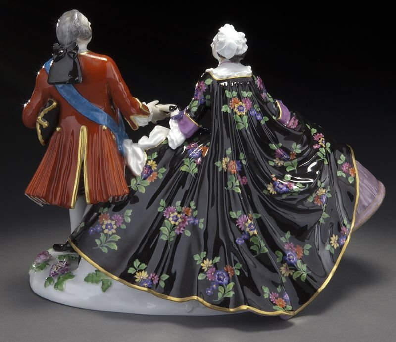 20: Meissen porcelain figural group of a royal couple, - 4
