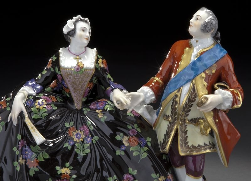 20: Meissen porcelain figural group of a royal couple, - 6