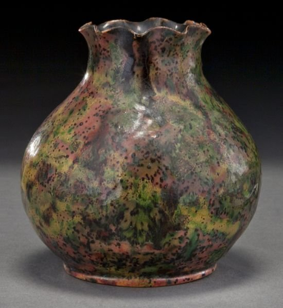 22: George Ohr glazed ceramic vase with a ruffled rim,