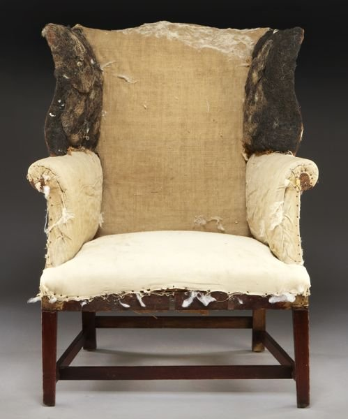 59: Period American Hepplewhite wing chair