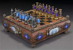98: Austro-Hungarian silver and gilt metal chess set