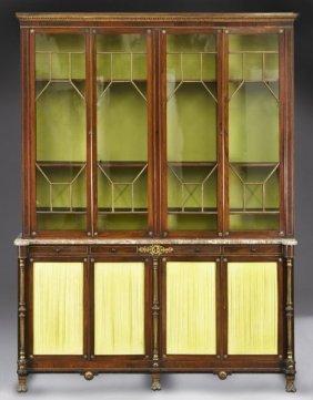 155: Regency rosewood breakfront 4-door bookcase