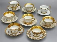 260 8 Sets of Meissen porcelain teacups and saucers