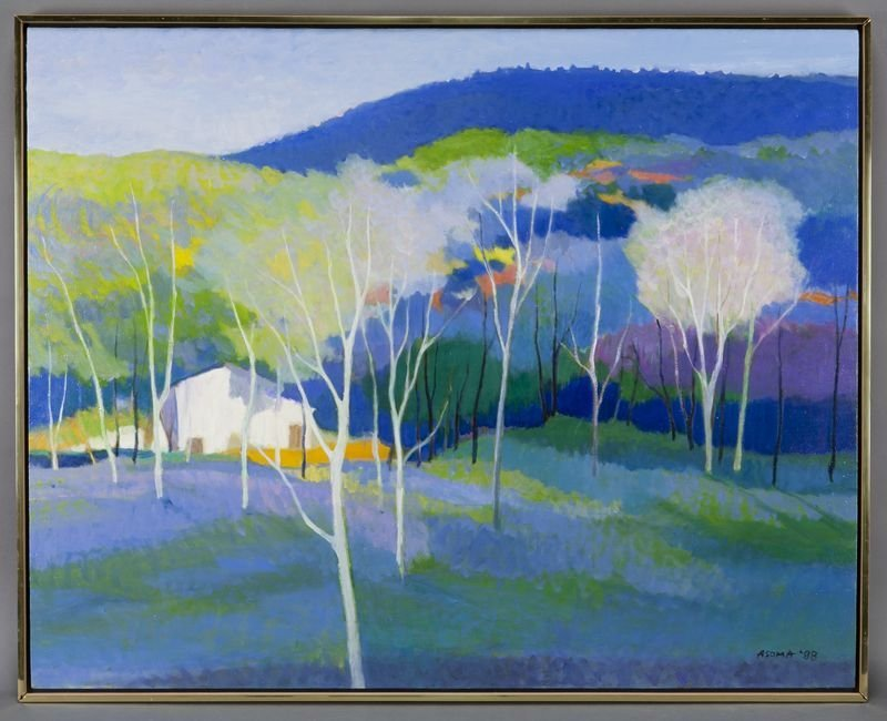"17: Tadashi Asoma, ""House in the Woods"" oil on canvas."