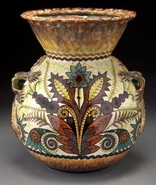 2: Quimper pottery vase decorated by Paul Fouillen,