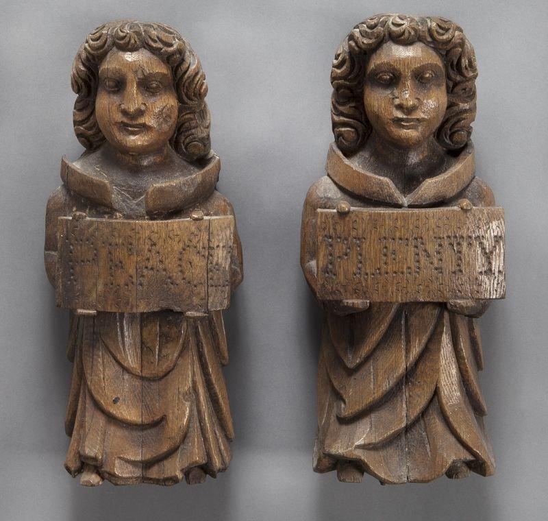 5: Pr. English carved wood angel wall mounts,