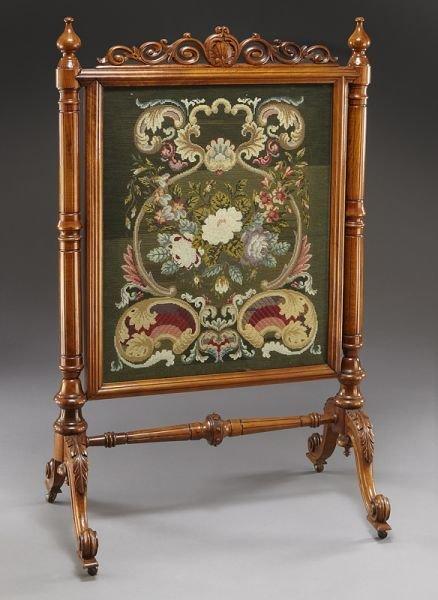6: Victorian framed needlepoint firescreen