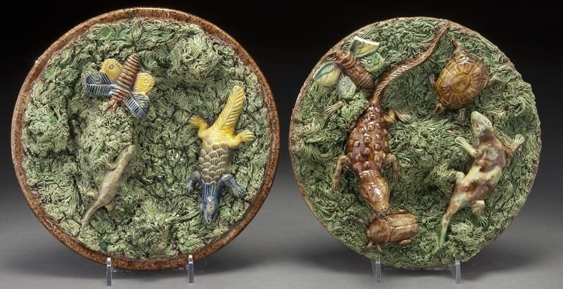 7: (2) Portuguese palissy dishes by M. Mafra Caldas,
