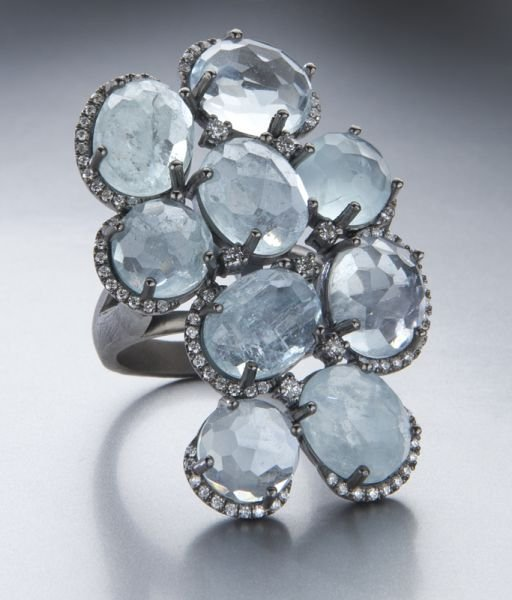8: Sterling silver, diamond and aquamarine ring.