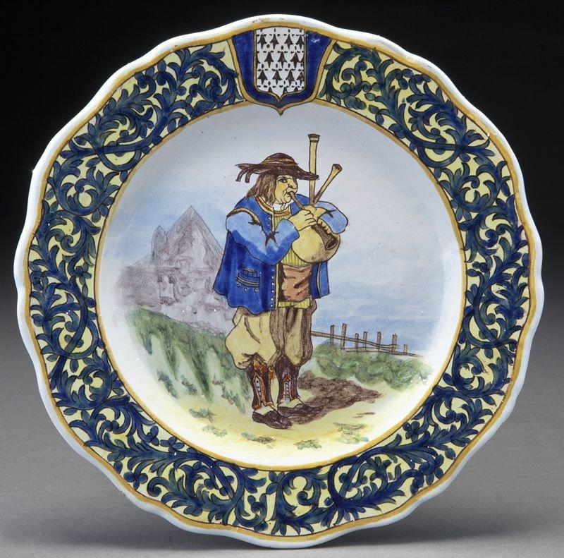 9: Porquier-Beau Quimper pottery plate