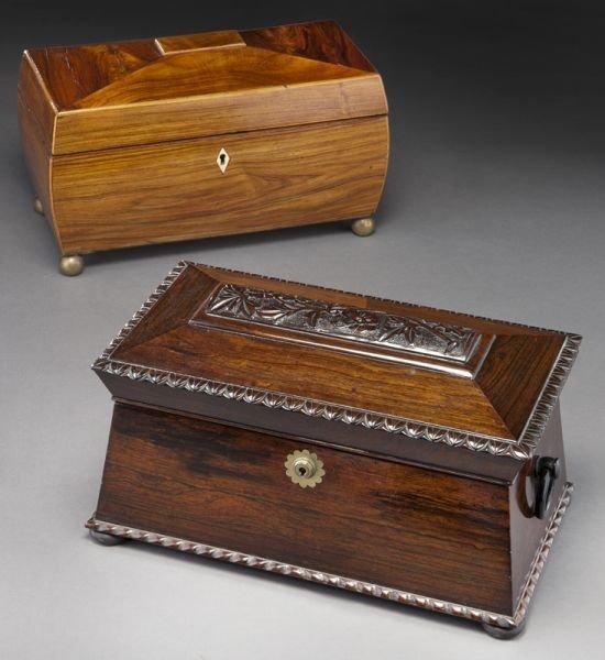 10: (2) English sarcophagus form tea caddies