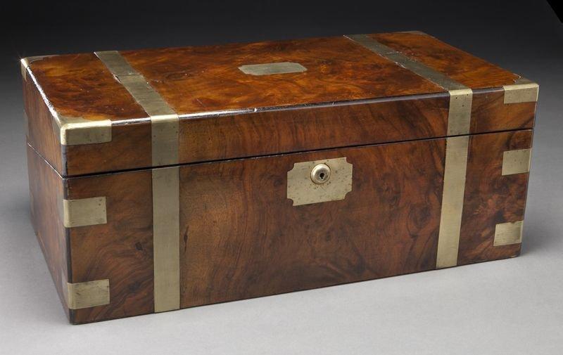 17: Early Victorian walnut brass bound lap desk