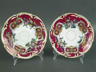 Pair of English Victorian dessert plate