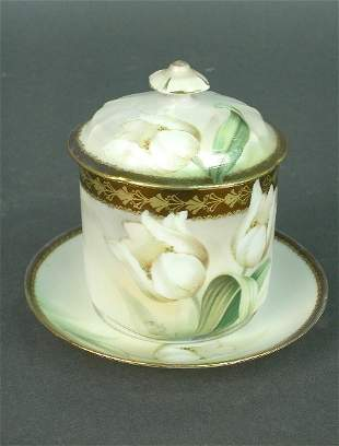 R. S. Prussia mustard pot with lid and
