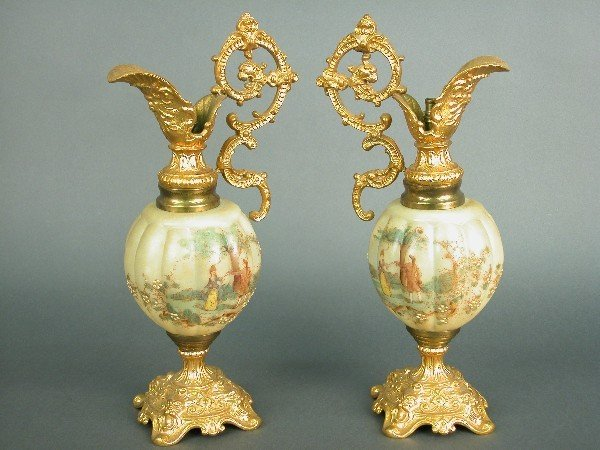 2004: Pair of ormolu and painted glass ewers