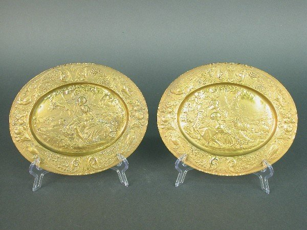 2007B: Pair of oval ormolu repousse plaques i