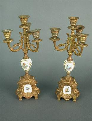 Pair of ormolu and porcelain 3 branch c