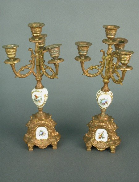 2010: Pair of ormolu and porcelain 3 branch c
