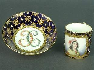 Sevres cup and bowl, both with cobalt b
