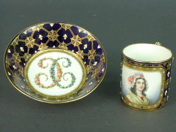 2013: Sevres cup and bowl, both with cobalt b