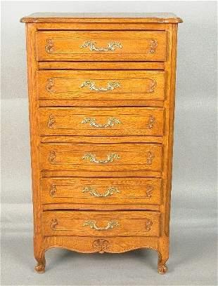 Louis XV style serpentine front oak 6-d