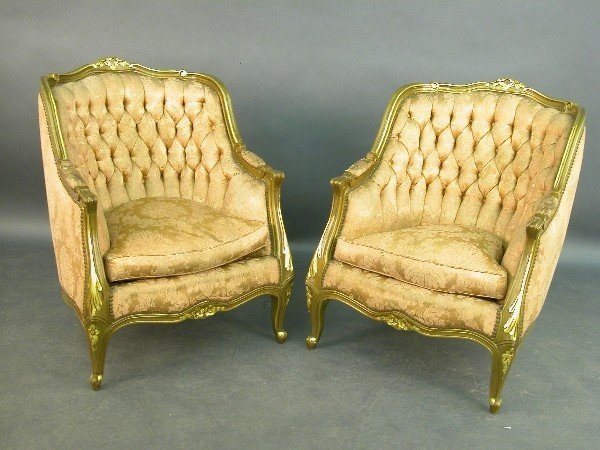 2017: Pair of French Bergere chairs with broc