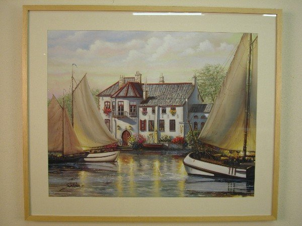 2020: Framed, colored print of sailboats on w
