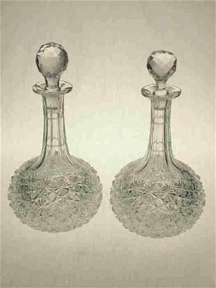 Pair American Brilliant Cut Glass
