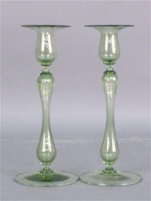 Pair of Sinclair art glass candlesticks