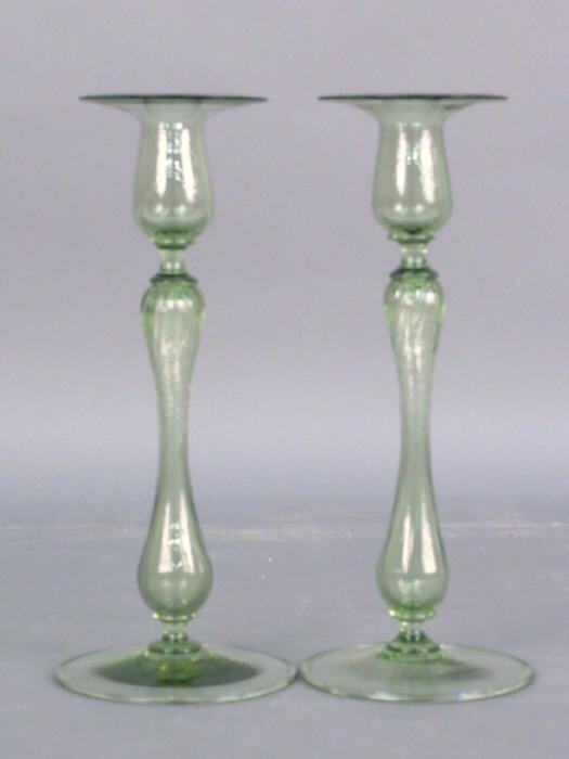 10: Pair of Sinclair art glass candlesticks