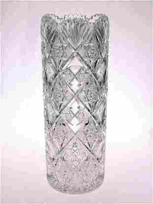 "American Brilliant Cut Glass 14"" Vase"