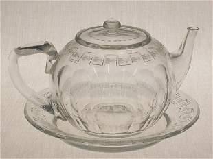 2pcs. Signed Sinclair Cut Glass teapot
