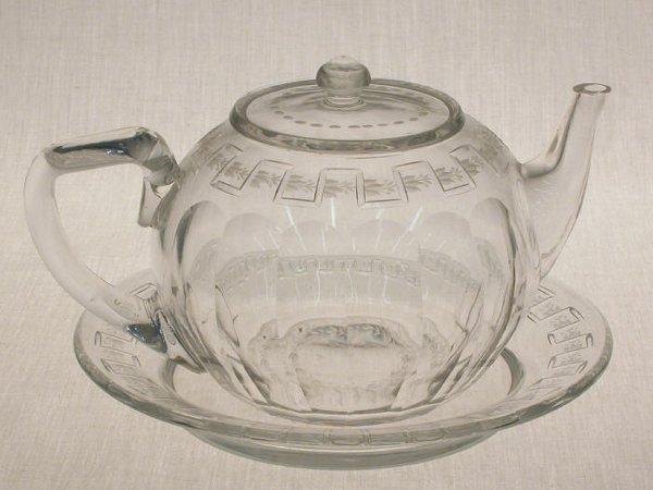 13: 2pcs. Signed Sinclair Cut Glass teapot