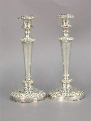 """Pair of 11.25""""H silverplate candlestick"""