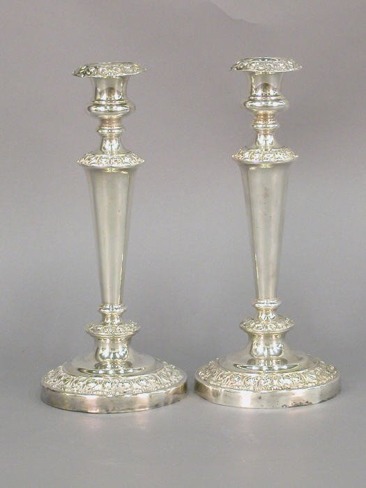 """14: Pair of 11.25""""H silverplate candlestick"""