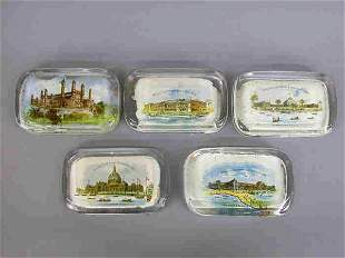 5 Paperweights, 1893 Columbian Expo.