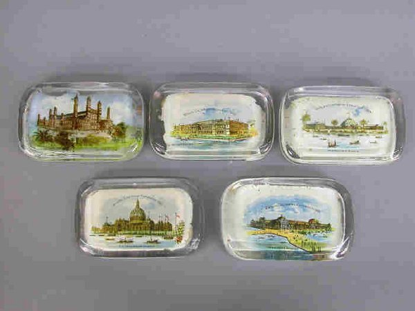 16: 5 Paperweights, 1893 Columbian Expo.